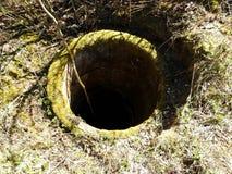 Alt nicht unter Verwendung des Brunnens mit Moos, Litauen stockbild