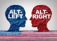 Alt-Right And Altleft. Alt right or altleft concept as a political and social thinking idelogies concept with two sides of opposing ideology debate with 3D Royalty Free Stock Images