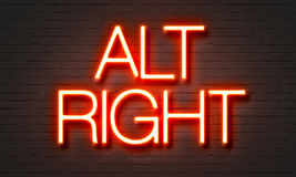 Alt right neon sign on brick wall background. Stock Image