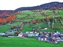 Alt St Johann in het Toggenburg-gebied en in de Thur-Riviervallei stock afbeelding