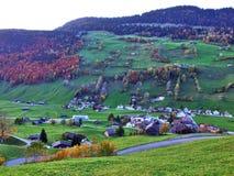 Alt St Johann in het Toggenburg-gebied en in de Thur-Riviervallei stock foto