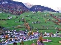 Alt St Johann in het Toggenburg-gebied en in de Thur-Riviervallei royalty-vrije stock afbeelding