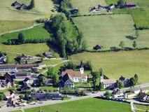 Alt St Johann in het Toggenburg-gebied en in de Thur-Riviervallei royalty-vrije stock foto