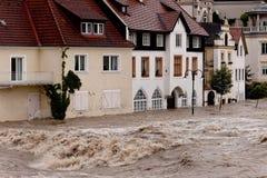 Alta acqua ed inondazione in Steyr Fotografia Stock Libera da Diritti