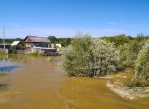 Alta acqua in villaggio Immagini Stock Libere da Diritti