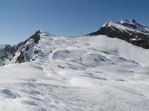 Alta area alpina dello sci nelle alpi francesi Fotografie Stock Libere da Diritti