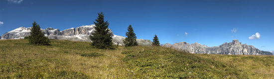 Alta Badia, panorama da Pralongia Immagini Stock Libere da Diritti