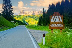 Alta Badia ski resort sign Royalty Free Stock Photo