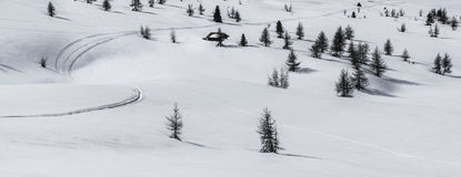Alta Badia, snow and trees - Dolomites, Italy Stock Photos