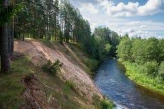 Alta banca sabbiosa del fiume di Polomet Fotografia Stock Libera da Diritti