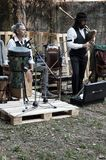 Alta Brianza, Lombardia, Italy - October, 2017: in local costumes artists perform at a party Stock Image