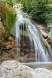 Alta cascata magnifica nel legno Fotografie Stock Libere da Diritti