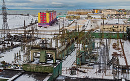 Alta centrale elettrica termica elettrica Fotografie Stock Libere da Diritti