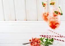 Alta chiave, bevande estive del cocktail dell'anguria Fotografia Stock