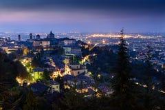 Alta città di Bergamo Fotografia Stock