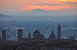 Alta città di Bergamo Immagini Stock Libere da Diritti