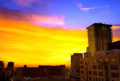 Alta colonna montante del centro al tramonto Fotografia Stock