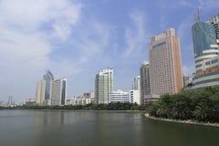 Alta costruzione dal lago del yuandang Fotografia Stock