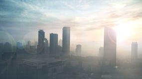 Alta costruzione dell'ufficio nell'ambito del tramonto Fotografia Stock Libera da Diritti