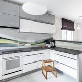 Alta cucina di bianco di lucentezza Immagine Stock