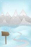 Alta escena de la montaña del invierno con el indicador del ADN del camino en el vector de las nevadas Foto de archivo