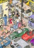 Alta esquina detallada de la escena de la calle Foto de archivo libre de regalías