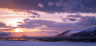 Alta Fjord. A lovely sunset at coast in Northern Norway. This coastline is situated close to Alta, which is the main city in the Finnmark region. The days er Royalty Free Stock Image