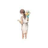 Alta illustrazione di definizione dell'acquerello: La donna con il fiore Immagini Stock