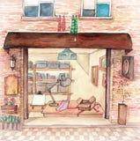 Alta illustrazione di definizione dell'acquerello: Parte anteriore del negozio della via Immagini Stock Libere da Diritti