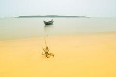 Alta immagine chiave della barca e dell'ancora, Tajpur, il Bengala Occidentale, India Fotografie Stock