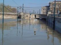 Alta inondazione a Budapest Fotografia Stock Libera da Diritti