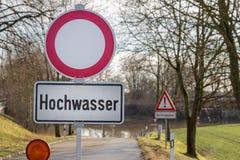 Alta inondazione, strada chiusa Fotografia Stock Libera da Diritti
