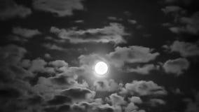 Alta luna luminosa fra le nuvole commoventi archivi video