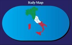 Alta mappa dettagliata di vettore - Italia a colori della bandiera nazionale Fotografia Stock Libera da Diritti