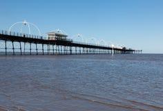 Alta marea al pilastro di Southport in Inghilterra Fotografia Stock Libera da Diritti