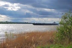 Alta marea di fonte sul fiume Irtysh Fotografia Stock Libera da Diritti