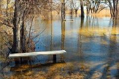 Alta marea ed inondazione stagionale nella primavera dopo la fusione della neve Immagini Stock