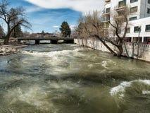 Alta marea, il fiume Truckee a Reno, Nevada Fotografie Stock Libere da Diritti