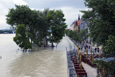 Alta marea su Danubio a Bratislava, Slovacchia Fotografia Stock