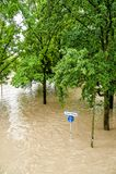 Alta marea sul Danubio Immagini Stock Libere da Diritti