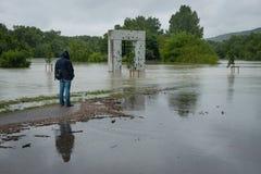 Alta marea sul Danubio in Slovacchia Fotografia Stock Libera da Diritti