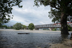 Alta marea sul Danubio in Slovacchia Fotografie Stock Libere da Diritti
