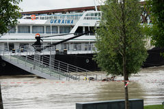 Alta marea sul Danubio in Slovacchia Immagini Stock