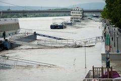 Alta marea sul Danubio in Slovacchia Fotografia Stock