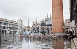 Alta marea a Venezia, Italia Fotografia Stock Libera da Diritti