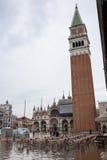 Alta marea a Venezia, Italia Fotografie Stock Libere da Diritti