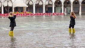 Alta marea a Venezia, Italia Fotografia Stock