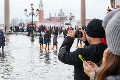 Alta marea a Venezia, Italia Fotografie Stock