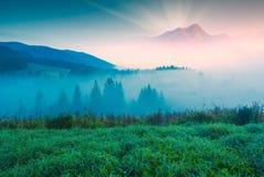 Alta montagna ad una luce di alba Immagini Stock