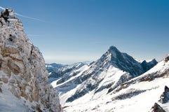 Alta montagna in alpi austriache durante l'inverno Fotografia Stock Libera da Diritti